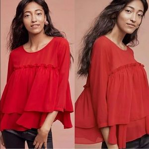 Anthro Sunday in Brooklyn Tiered Red Ruffle Blouse